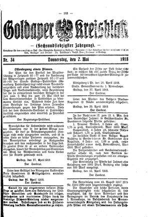 Goldaper Kreisblatt vom 02.05.1918