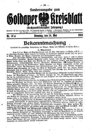 Goldaper Kreisblatt vom 14.05.1918