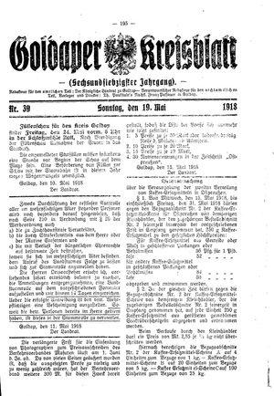 Goldaper Kreisblatt vom 19.05.1918