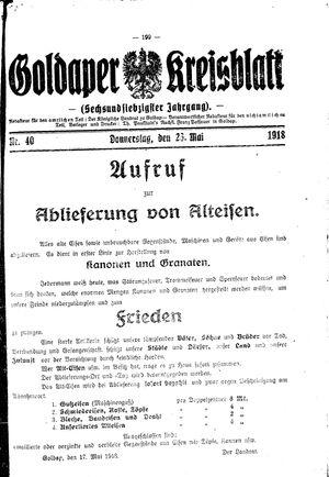 Goldaper Kreisblatt vom 23.05.1918