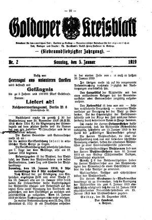 Goldaper Kreisblatt vom 05.01.1919