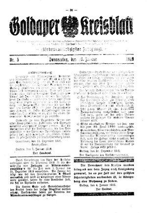 Goldaper Kreisblatt vom 16.01.1919