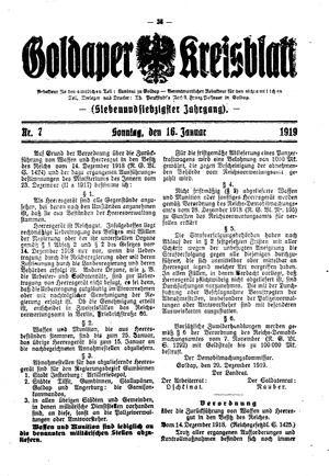 Goldaper Kreisblatt vom 23.01.1919