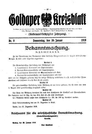 Goldaper Kreisblatt vom 30.01.1919