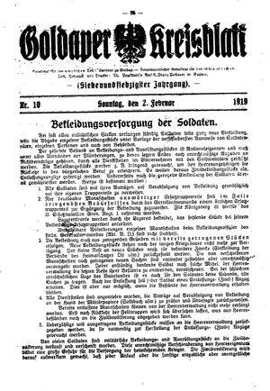 Goldaper Kreisblatt vom 02.02.1919