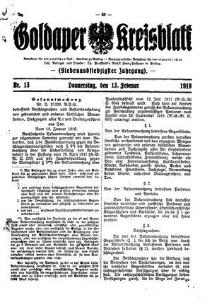 Goldaper Kreisblatt vom 13.02.1919