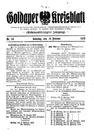 Goldaper Kreisblatt vom 16.02.1919