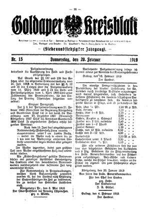 Goldaper Kreisblatt vom 20.02.1919