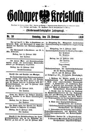 Goldaper Kreisblatt vom 23.02.1919