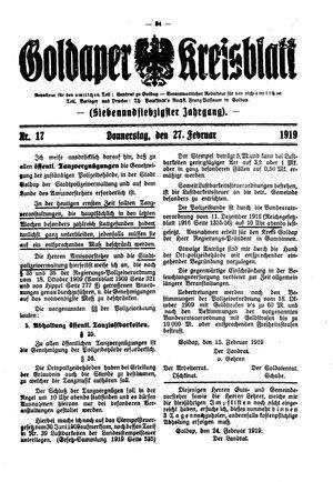 Goldaper Kreisblatt vom 27.02.1919