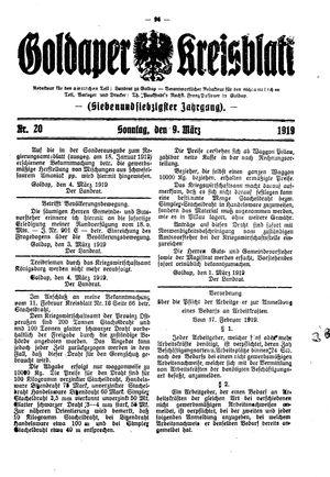 Goldaper Kreisblatt vom 09.03.1919