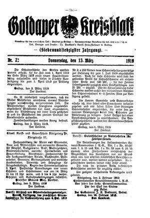 Goldaper Kreisblatt vom 13.03.1919