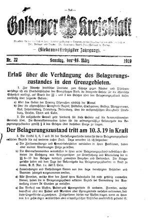 Goldaper Kreisblatt vom 16.03.1919