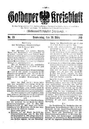 Goldaper Kreisblatt vom 20.03.1919