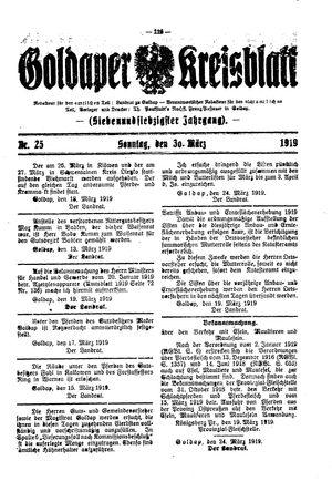Goldaper Kreisblatt vom 30.03.1919