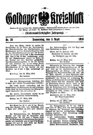 Goldaper Kreisblatt vom 03.04.1919