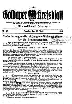 Goldaper Kreisblatt vom 13.04.1919