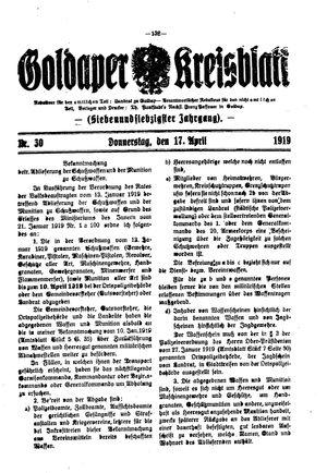 Goldaper Kreisblatt vom 17.04.1919