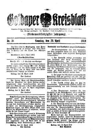 Goldaper Kreisblatt vom 20.04.1919