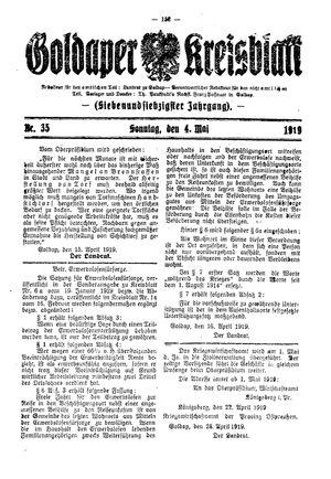 Goldaper Kreisblatt vom 04.05.1919
