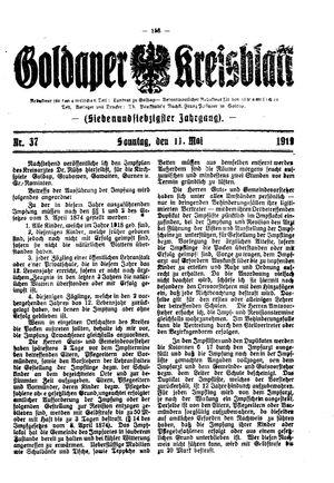 Goldaper Kreisblatt vom 11.05.1919