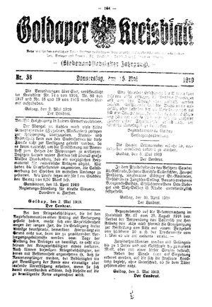Goldaper Kreisblatt vom 15.05.1919
