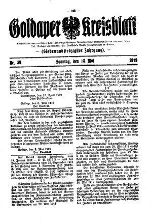 Goldaper Kreisblatt vom 18.05.1919