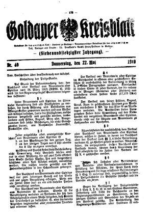 Goldaper Kreisblatt vom 22.05.1919