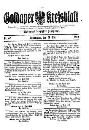 Goldaper Kreisblatt vom 29.05.1919
