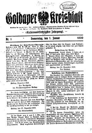 Goldaper Kreisblatt vom 01.01.1920