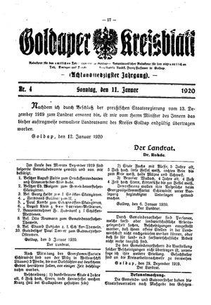 Goldaper Kreisblatt vom 15.01.1920