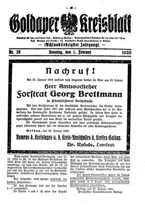 Goldaper Kreisblatt vom 01.02.1920