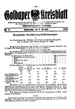 Goldaper Kreisblatt vom 05.02.1920