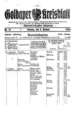 Goldaper Kreisblatt vom 08.02.1920