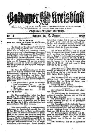 Goldaper Kreisblatt vom 15.02.1920