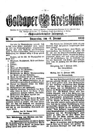 Goldaper Kreisblatt vom 19.02.1920