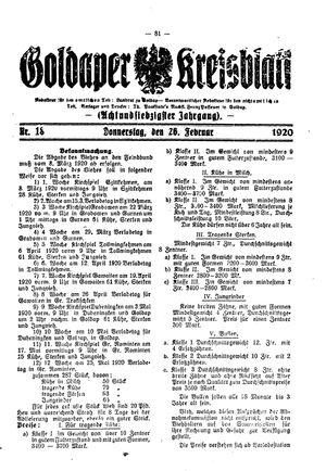 Goldaper Kreisblatt on Feb 26, 1920