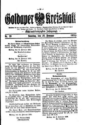 Goldaper Kreisblatt vom 29.02.1920