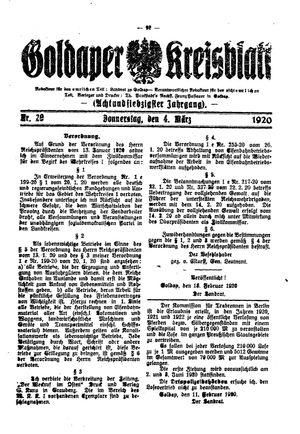 Goldaper Kreisblatt vom 04.03.1920