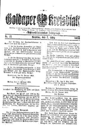 Goldaper Kreisblatt vom 07.03.1920