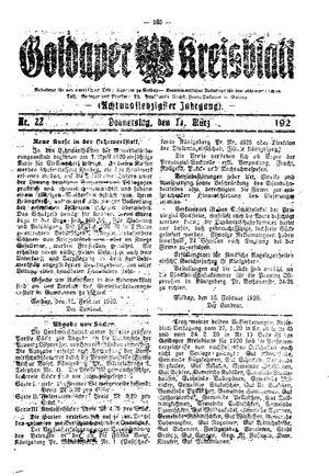 Goldaper Kreisblatt vom 11.03.1920