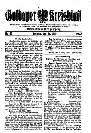 Goldaper Kreisblatt vom 14.03.1920