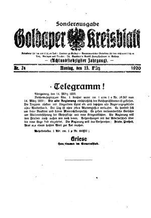 Goldaper Kreisblatt vom 15.03.1920