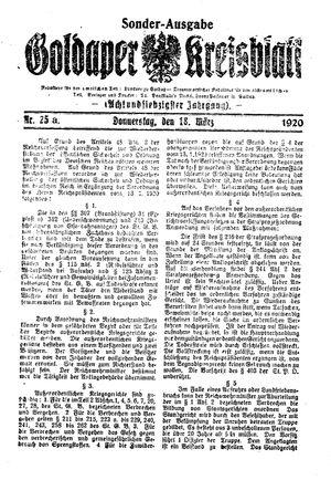 Goldaper Kreisblatt vom 18.03.1920