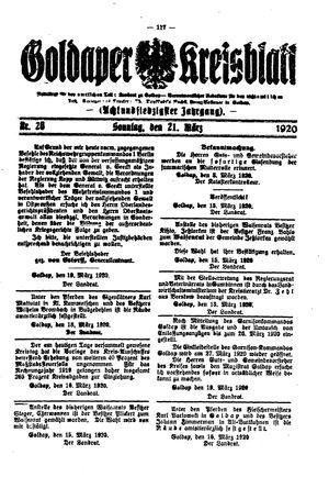 Goldaper Kreisblatt vom 21.03.1920
