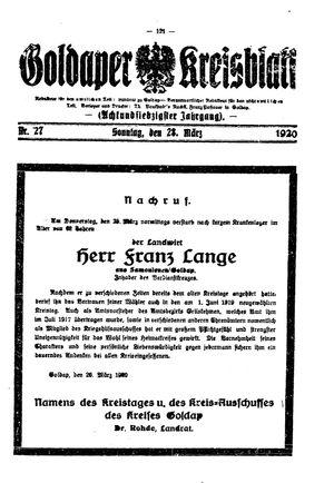 Goldaper Kreisblatt vom 28.03.1920