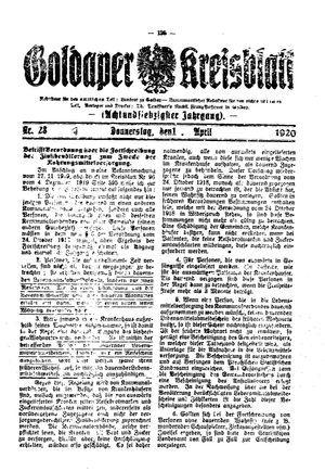 Goldaper Kreisblatt vom 01.04.1920