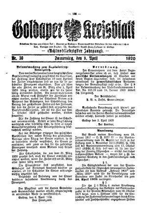 Goldaper Kreisblatt vom 08.04.1920