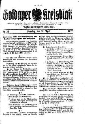 Goldaper Kreisblatt vom 18.04.1920