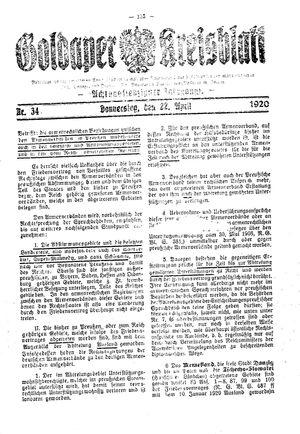 Goldaper Kreisblatt vom 22.04.1920